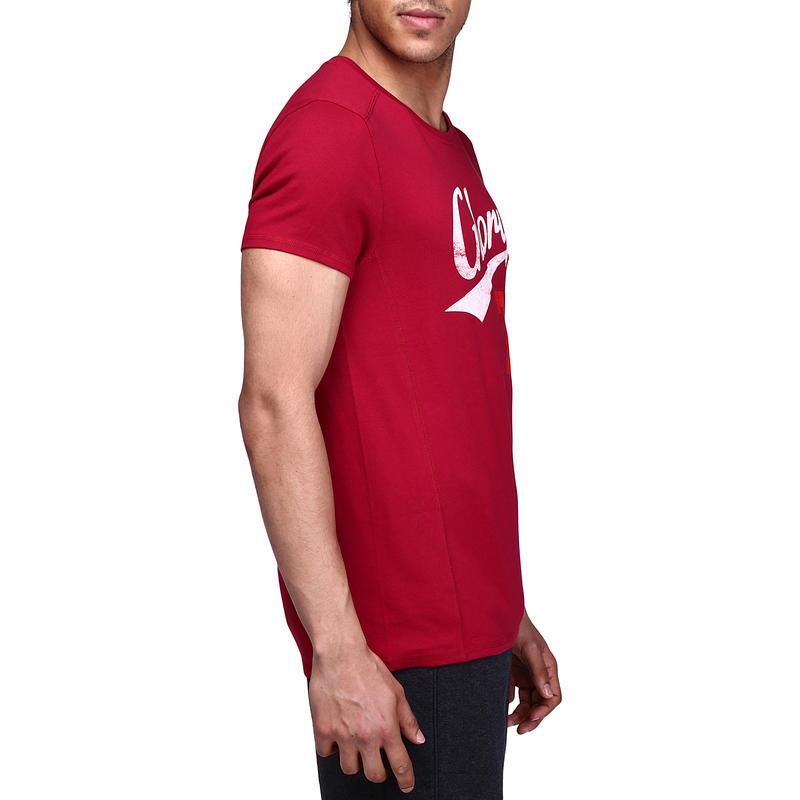 Tee shirt regular musculation homme imprimé bordeaux