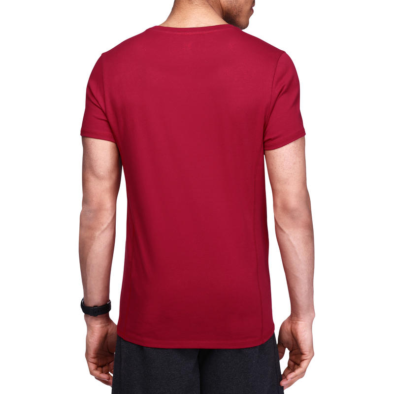 Tee shirt regular musculation homme imprimé bordeaux