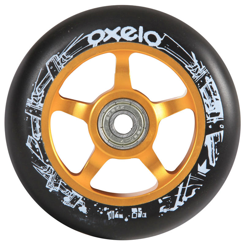 100mm Gold Alu Core Black PU Freestyle Scooter Wheel
