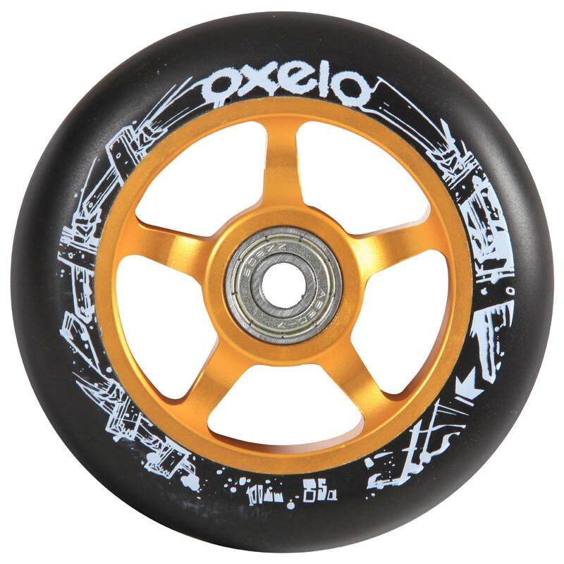 100mm Gold Alu Core Black PU Freestyle Scooter Wheel