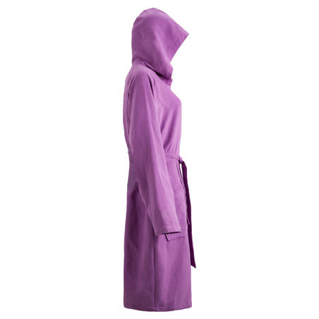 Women's ultra compact microfibre bathrobe with hood and belt - Purple