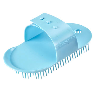 Schooling Kids' Horse Riding Small Sarvis Curry Comb - Turquoise
