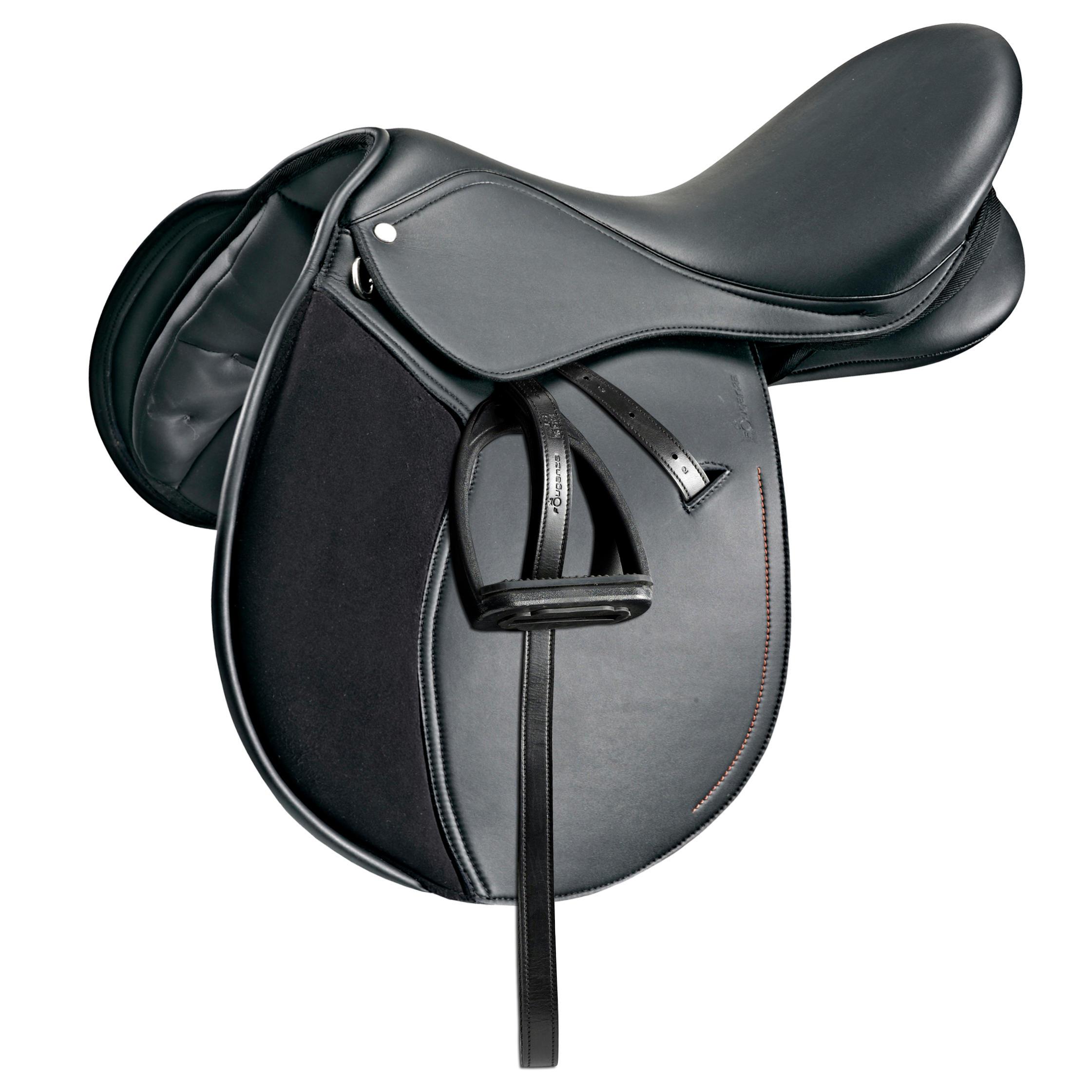 Selle mixte synthétique équipée équitation cheval et poney SYNTHIA noir 16,5_QUOTE_