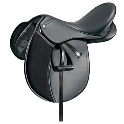 """Selle polyvalente synthétique équipée équitation cheval poney SYNTHIA noir 16,5"""""""