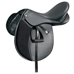 """Silla polivalente sintética equipada equitación caballo, poni SYNTHIA negro 16""""5"""