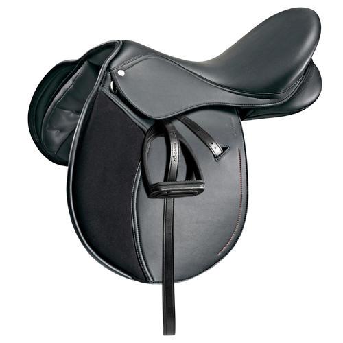 Selle polyvalente synthétique équipée équitation cheval poney SYNTHIA noir 16''5