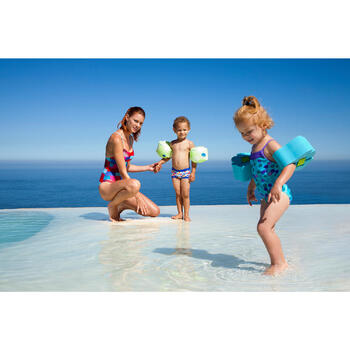 Schuimrubberen zwembandjes met elastische band voor kinderen van 15-30 kg, blauw