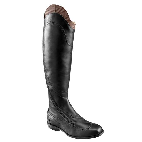 Leren paardrijlaarzen voor dames VICTORY, zwart - kuitmaat M - 654822