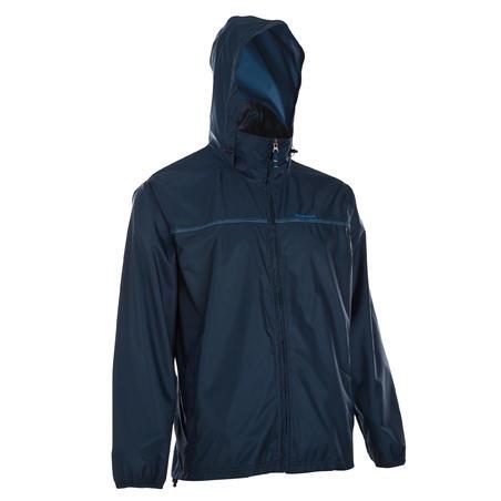Rain-Cut Zip Men's Hiking Waterproof Rain Jacket - Blue