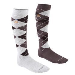 菱格紋成人馬術用襪 - 淺灰/深灰