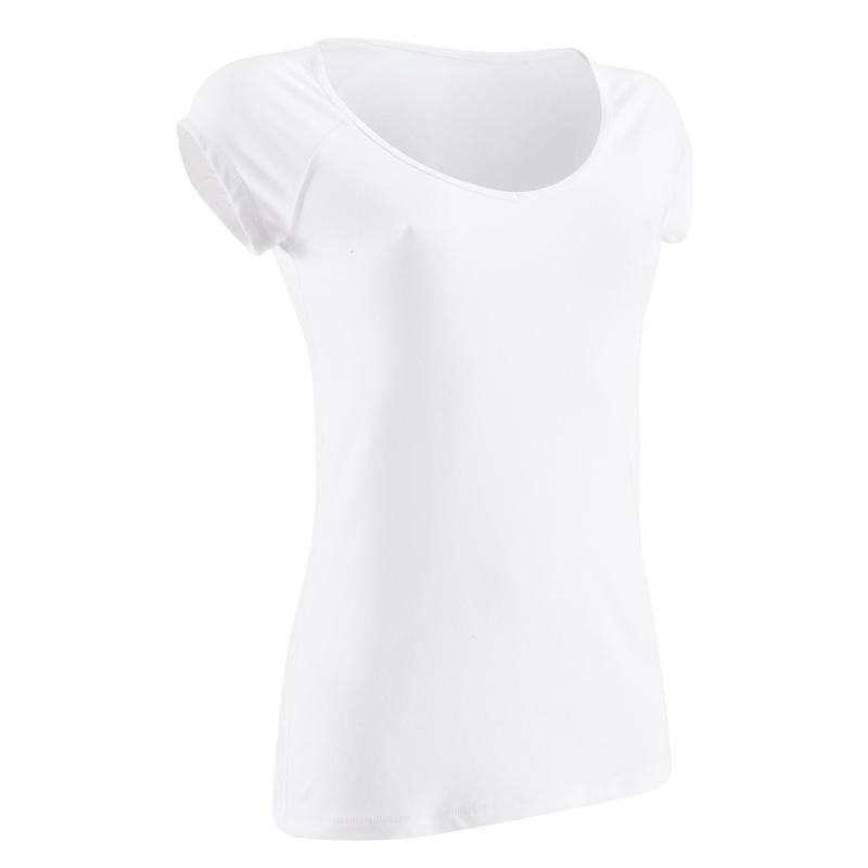 Camiseta 500 slim Gimnasia Stretching mujer blanca