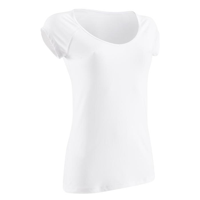 T-Shirt 500 Slim Pilates sanfte Gym Damen weiß