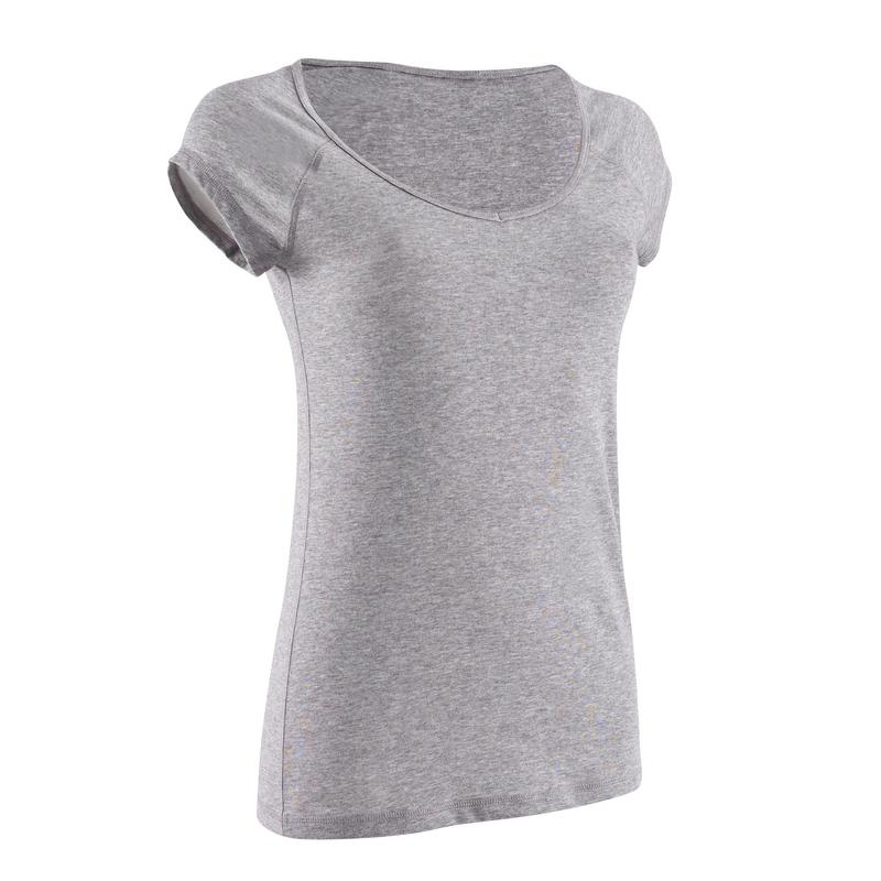a00877f1 500 Women's Slim-Fit Pilates & Gentle Gym T-Shirt - Mottled Grey ...