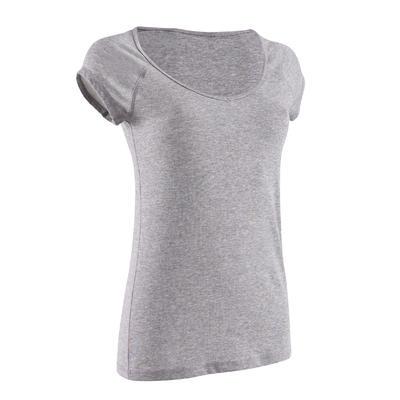 500 Women's Slim-Fit Pilates & Gentle Gym T-Shirt - Mottled Grey