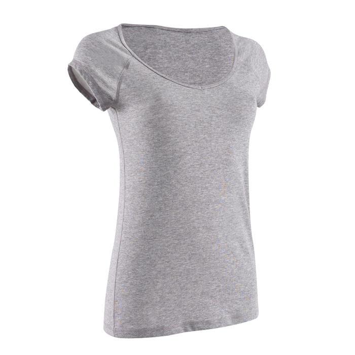 T-shirt 500 slim fit pilates en lichte gym dames gemêleerd grijs