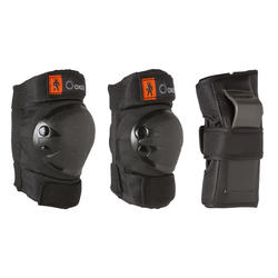 Ens. de 3 protections patin, planche à roulettes, trottinette enfant BASIC noir