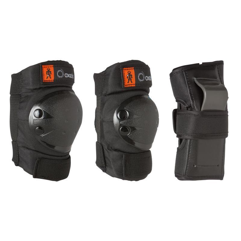 Set 3x2 protections roller skate trottinette enfant BASIC noir