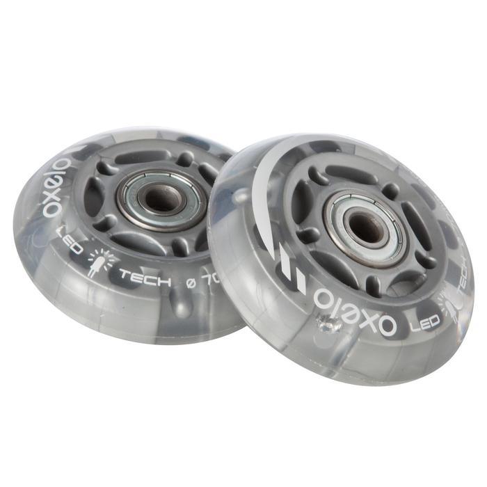 Lot 2 roues avec roulements roller enfant FLASH 70mm 80A transparentes - 663612