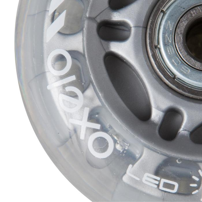 Lot 2 roues avec roulements roller enfant FLASH 70mm 80A transparentes