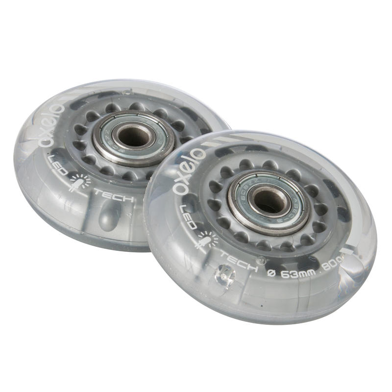 2 Kids' Skate Wheels with Bearings 63 mm 80A Flash