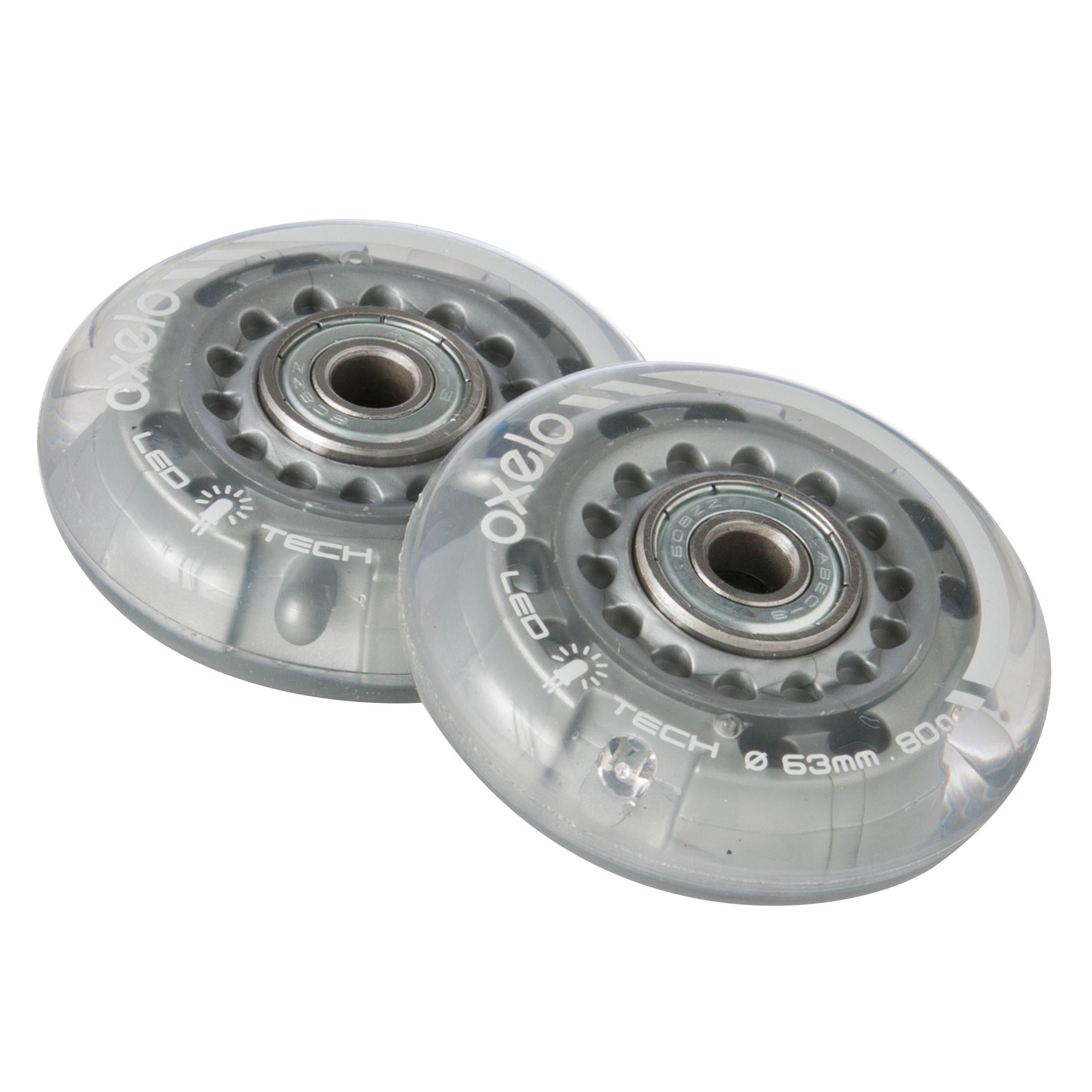 Lot 2 roues avec roulements patin enfant FLASH 63 mm 80A