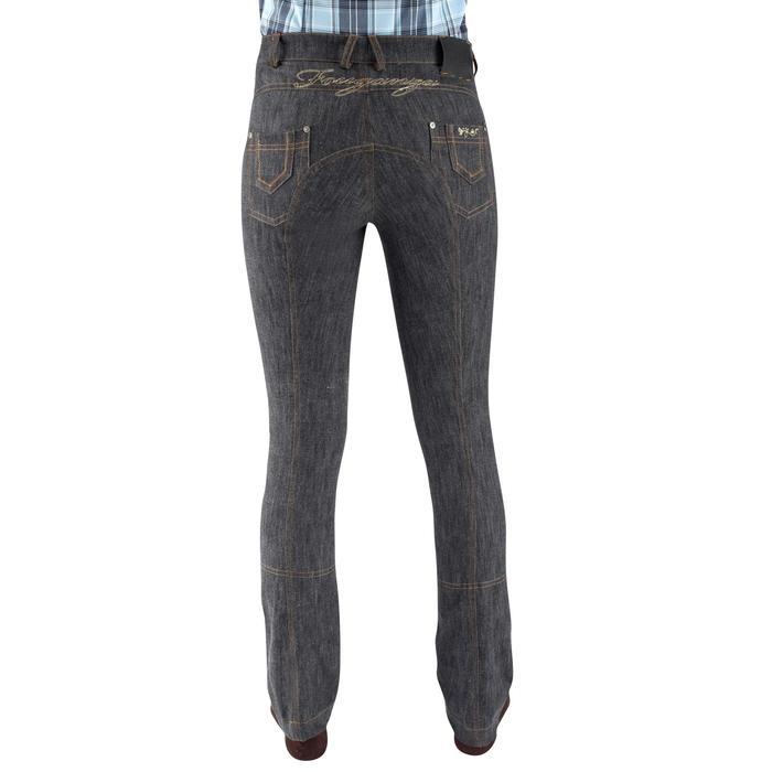 Pantalon équitation femme BAS DROIT jean gris