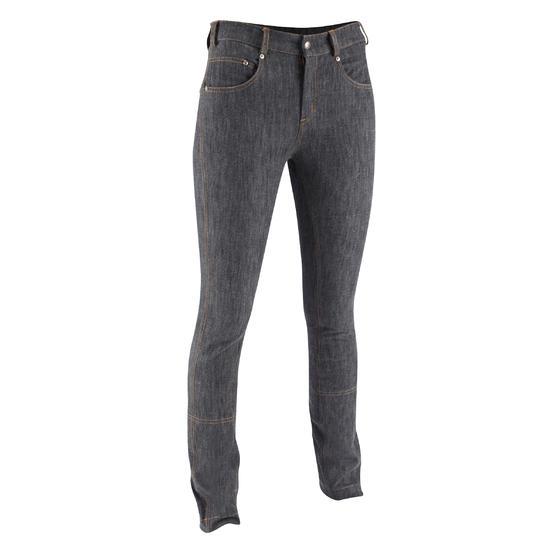 Damesrijbroek met rechte pijpen jeans grijs - 666128