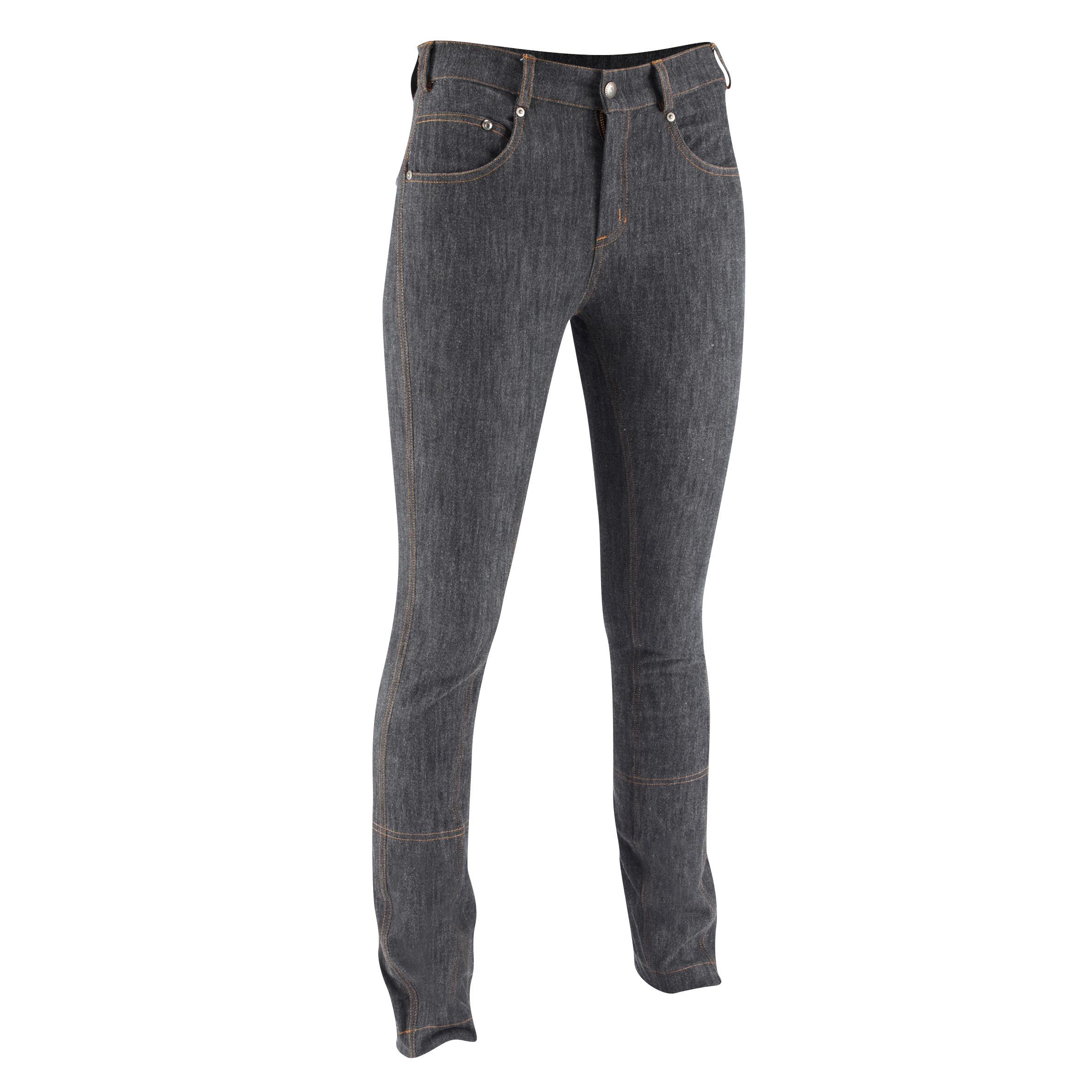 Jodhpurreithose gerader Beinabschluss Jeans Damen grau | Sportbekleidung > Sporthosen > Sonstige Sporthosen | Fouganza