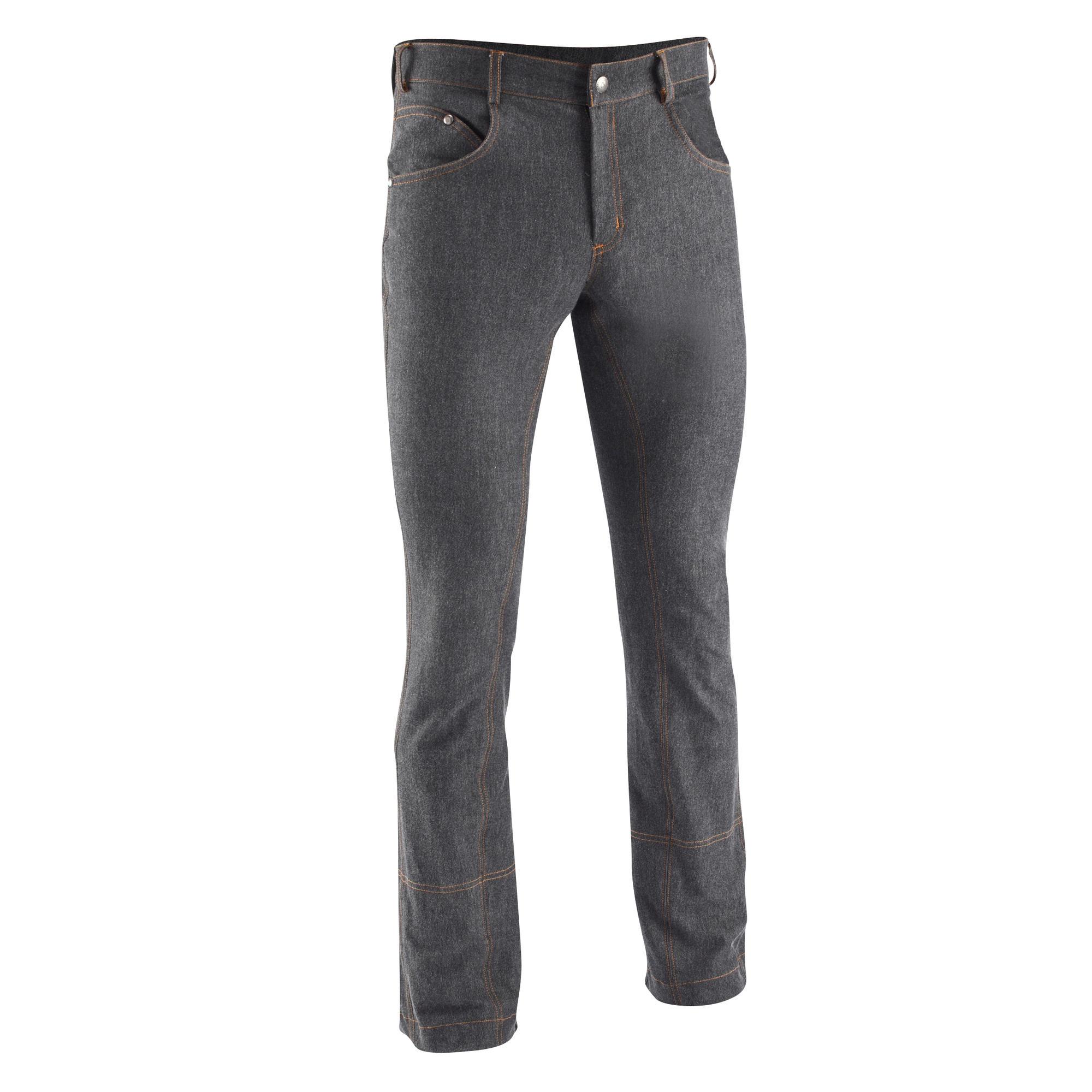 pantalon quitation homme bas droit jeans noir fouganza. Black Bedroom Furniture Sets. Home Design Ideas