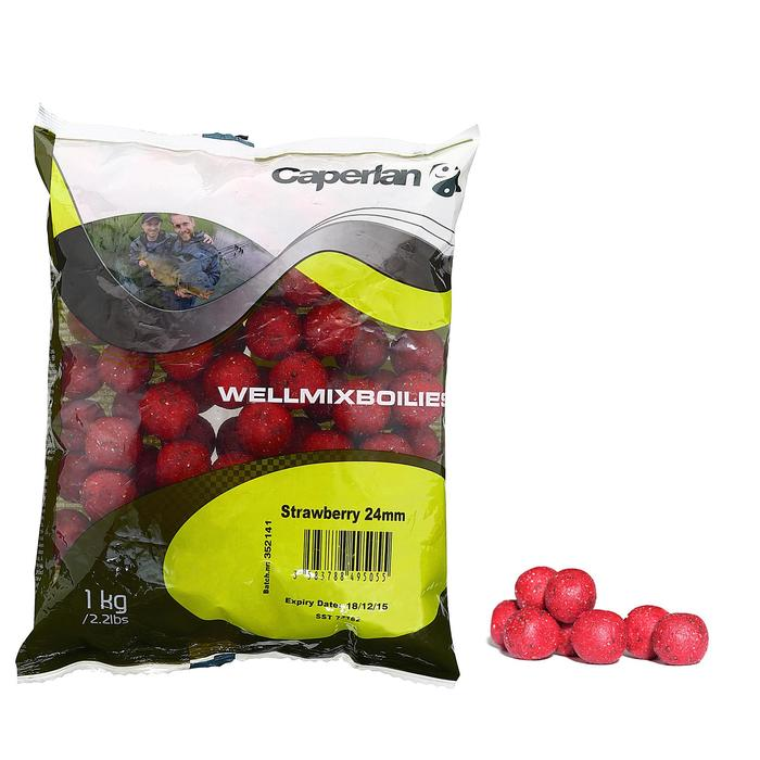 bouillettes pêche de la carpe wellmix 24mm Strawberry 1 kg