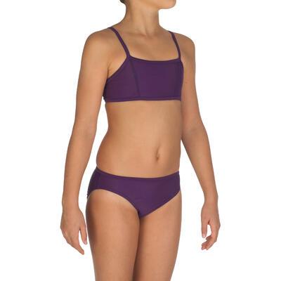 Girls' Two-Piece Crop Top Swimsuit - Purple