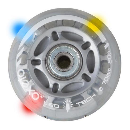 Set met 2 transparante wielen en lagers voor kinderskates FLASH 70 mm 80A - 669639