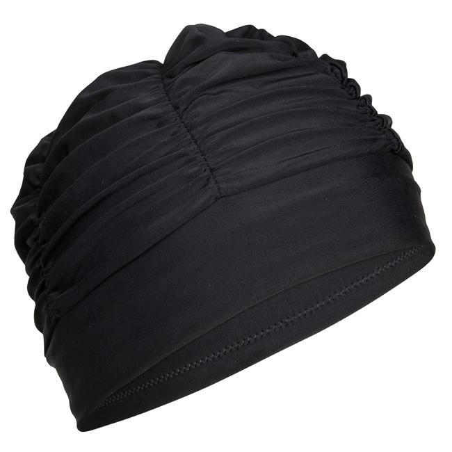 Swim Cap mesh Size large with volume for long hair - Black