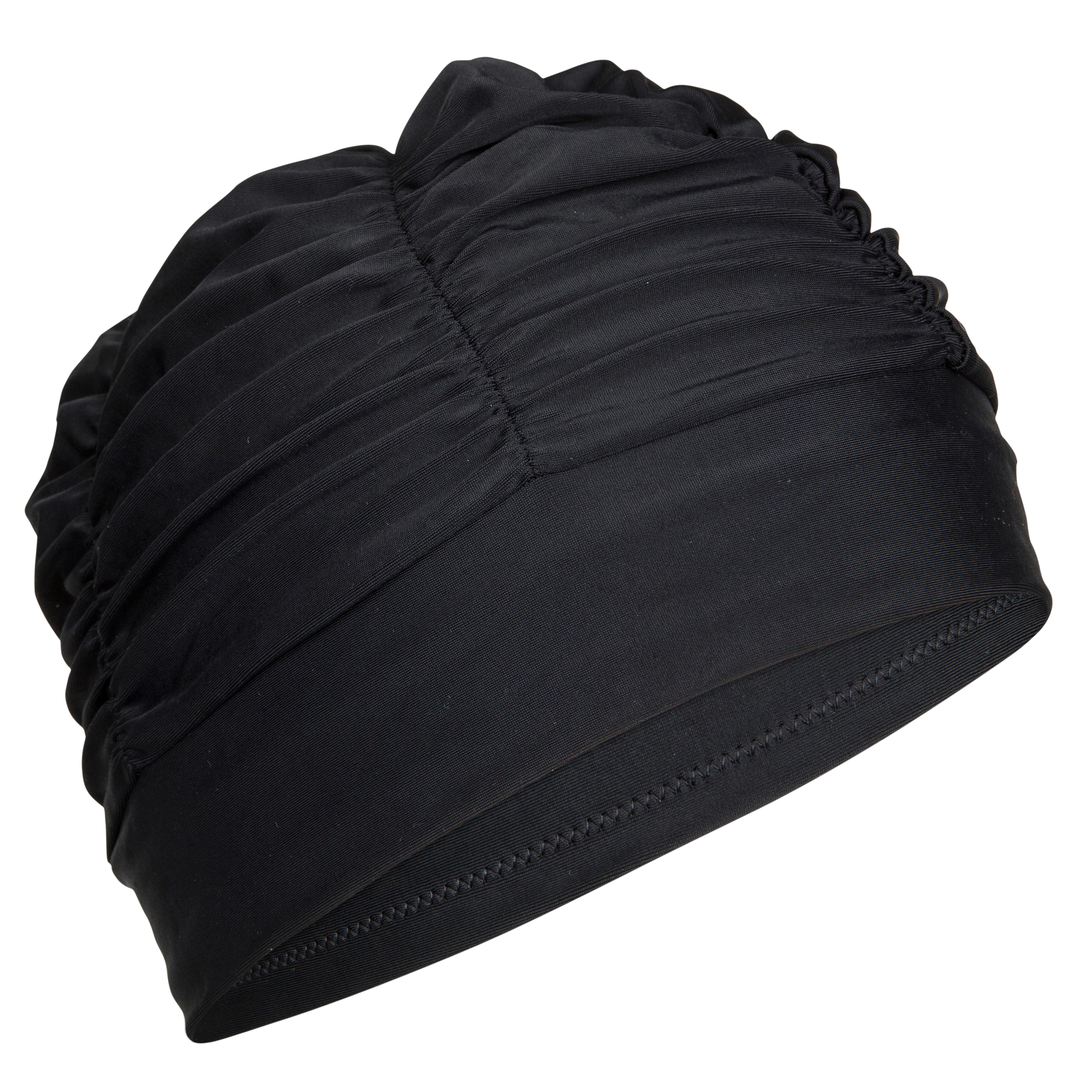 Badekappe Stoff Volumen schwarz