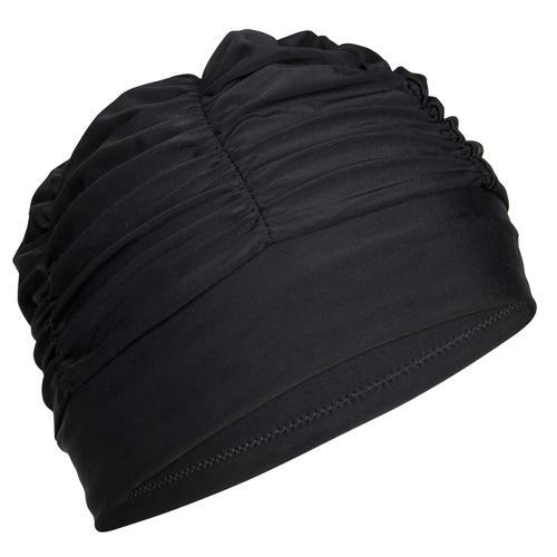 bonnet de bain en tissu maille grand volume noir