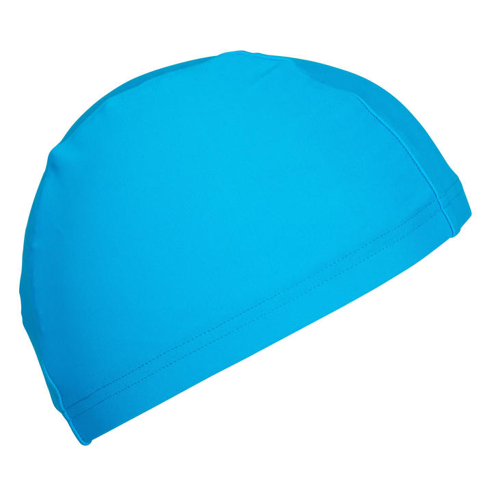 Touca de natação em tecido de malha azul tamanho S e L