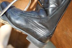 Leren paardrijlaarzen voor dames VICTORY, zwart - kuitmaat M - 693039