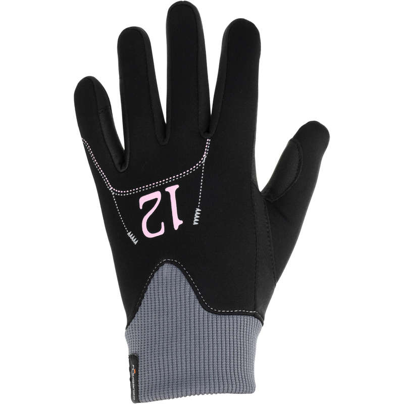 COLD WEATHER RIDING GLOVES WOMAN AND JUN Horse Riding - EASYWEAR KIDS GLOVES WARM BLACK FOUGANZA - Horse Riding