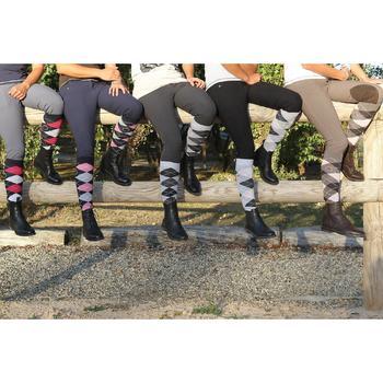 Calcetines equitación adulto ROMBOS Gris y Negro x 2 pares