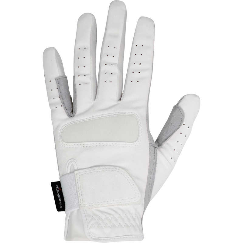 RIDING GLOVES ADULT - GRIPPY GLOVES WHITE FOUGANZA