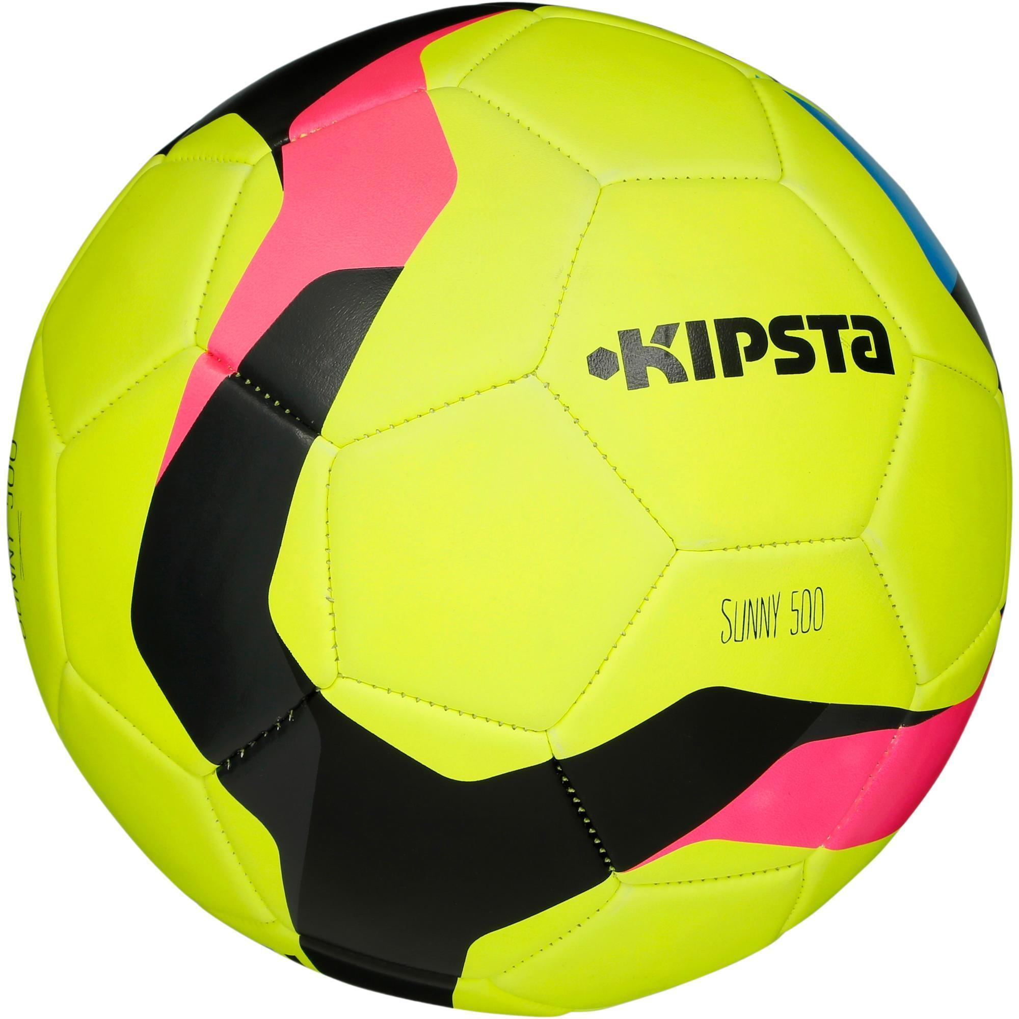 ballon de football sunny 500 taille 5 jaune rose noir kipsta by decathlon. Black Bedroom Furniture Sets. Home Design Ideas