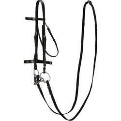 成馬與小馬訓練用馬籠頭及韁繩-黑色皮革