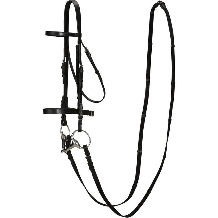 Filet + rênes équitation cheval et poney SCHOOLING cuir noir - 694578