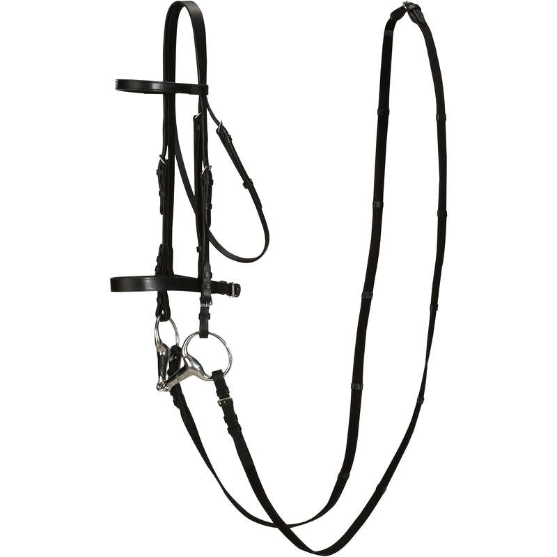 BRIDLEWORK Horse Riding - SCHOOLING BRIDLE & REINS LEATHER BLACK FOUGANZA - Saddlery and Tack
