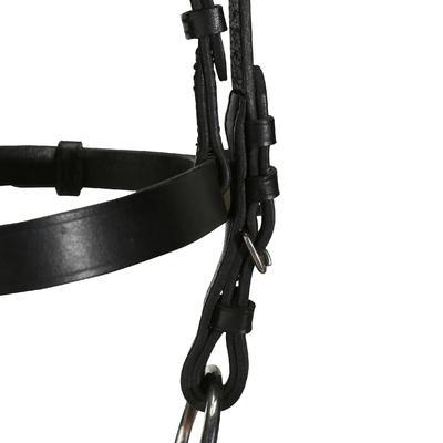 רכיבה - רסן + מושכות לימודיות לסוסים וסוסי פוני - עור שחור