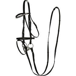 Hoofdstel + teugels Strass ruitersport zwart - paard