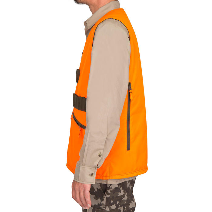 Gilet chasse Steppe 300 réversible fluo - 69463