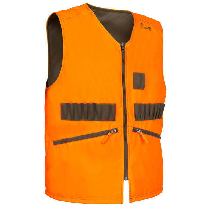 Gilet chasse Steppe 300 réversible fluo - 69464