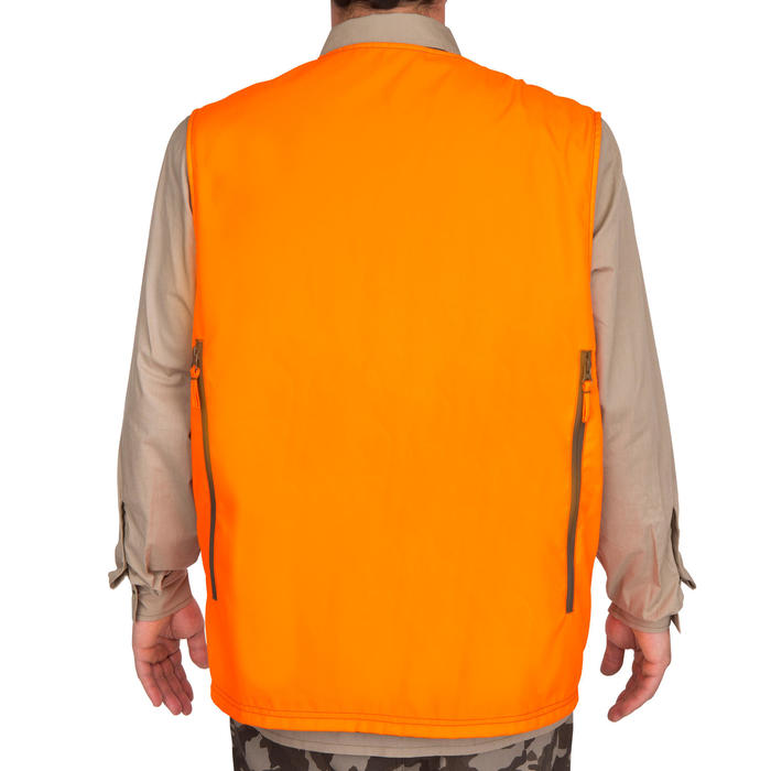 Gilet chasse Steppe 300 réversible fluo - 69466