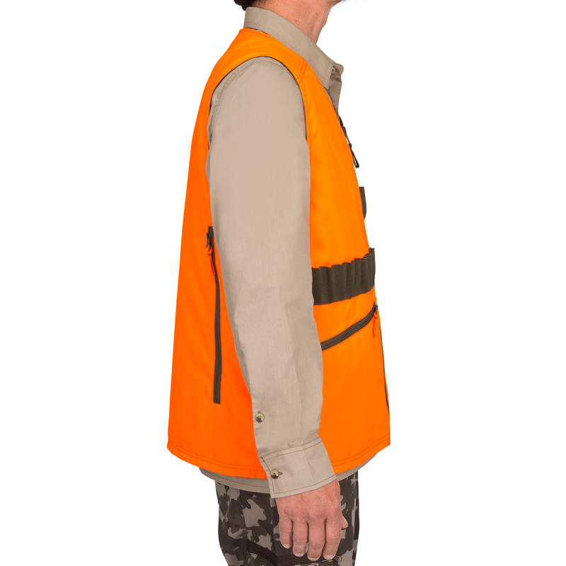 GILET CHASSE STEPPE 300 REVERSIBLE FLUO